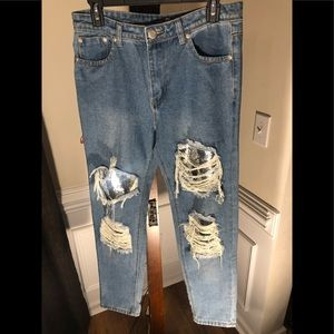 Boohoo Blue *Ripped & Distressed* Sequence*NWOT